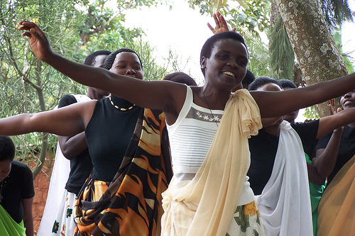 Dancing at graduation ceremony by Women for Women.